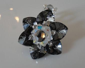Ring Lily Silver Night Swarovski Crystal beads