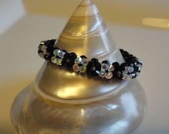 Bracelet hand made black and white Swarovski Crystal beads