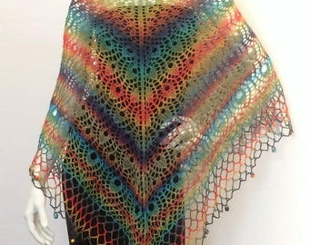 """Peacock eye"" beaded shawl"