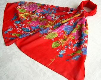 Simple print scarf flowers 087