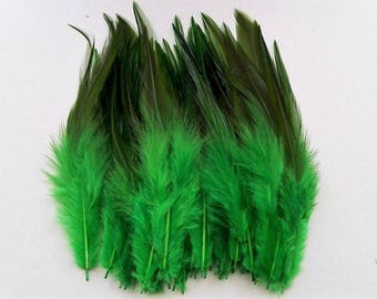set of 10 green feathers mixed 10-15cm