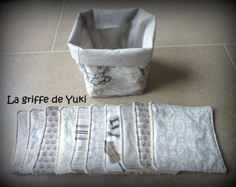 Set of 10 eco-friendly wipes washable white grey taupe