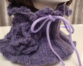 Purple cowl or Snood is hand knit and crochet, warm and soft
