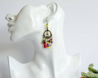 "Long ethnic ""Awa"" with colorful beads earrings"