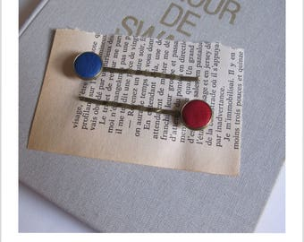 "Barrette, hair clip, vintage ""clip - me"" red and blue leather"