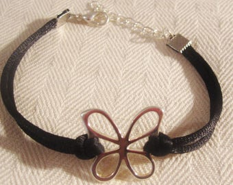 Women and teens black and silver Butterfly bracelet