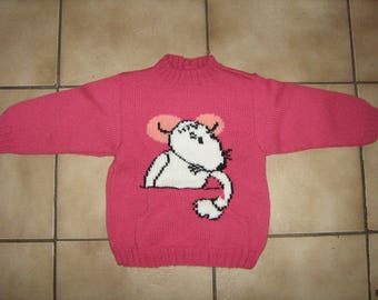 Hand knitted pink sweater with white t mouse 2 years