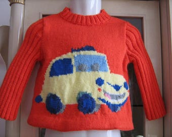Hand knitted yellow car Isle sweater