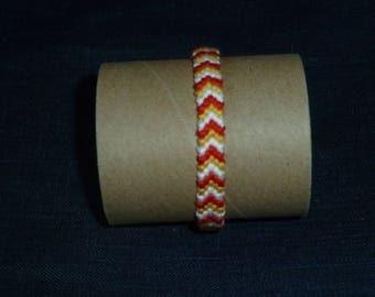 Lens bracelet red, yellow and white Chevron
