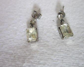 Retro Faux Diamond Emerald Cut Dangle Pierced Earrings
