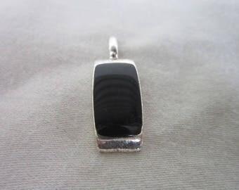 Vintage Silver tone & Black enameled Necklace Pendant