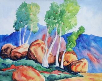 Boulders and Trees Original Watercolor Painting