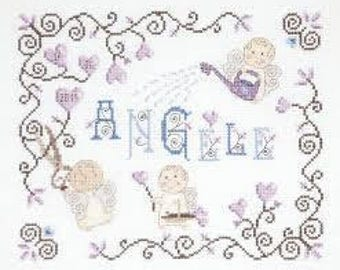 DMC BK1033 | Little Angel Name Sampler Counted Cross Stitch Kit