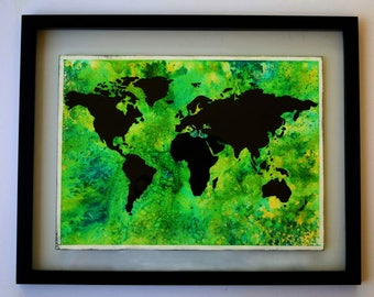 World Map Watercolor and Acrylic Framed Painting