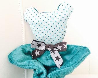 VELVET Teddy bear green and gray baby blanket/plush charcoal