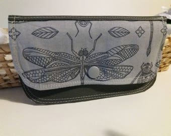 small coin purse faux leather and cotton