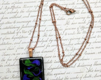 Art Deco-Inspired Black, Purple and Green Glass Tile Pendant Necklace