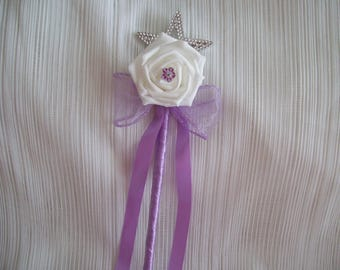 Lilac & white flower girl wand. Wedding flowers.