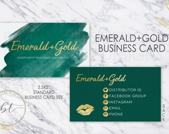 Lipsense Business Cards EMERALD+GOLD - lipsense distributor - makeup artist
