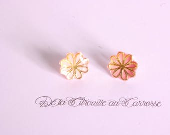 Gold and coral flower ear studs