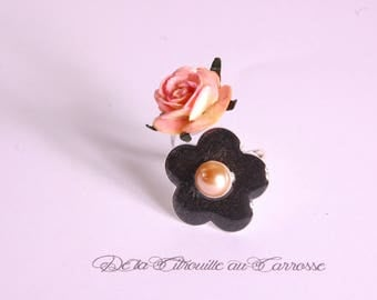 Ring flower ring, double, black and salmon