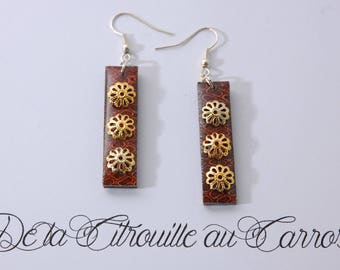 Cache Brown, gold filigree earrings