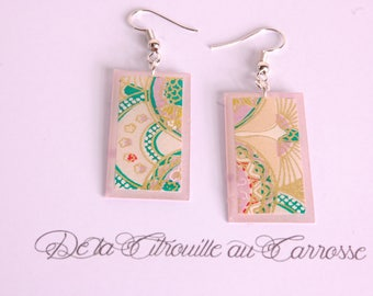 Japanese motif, green and purple earrings