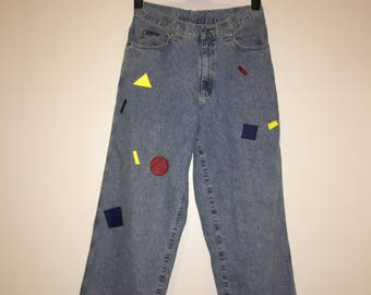Hand painted jeans- geometric primary shapes