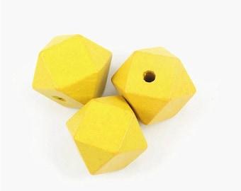 20mm yellow wood beads