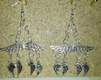Silver wing dangle earrings