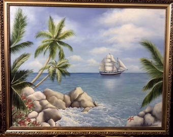 Painting the sea, ship, Palm