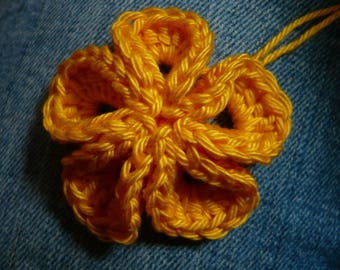kanzashi flower crocheted in yellow cotton crochet flower applique
