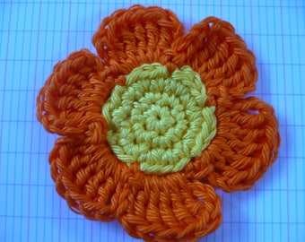 crochet flower, yellow and orange cotton