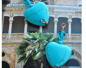 Turquoise heart bottle pendant charms and Czech glass