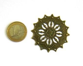 Bronze filigree connector 2 ethnic 43 mm round