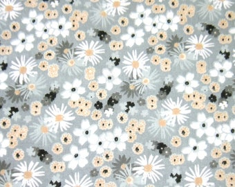 Fabric 100% cotton light grey patterned white flowers, grey, ochre