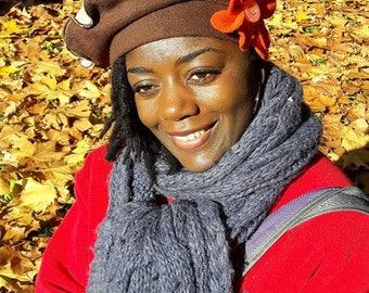 """Beautiful beret pattern """"CAMDEN"""" fleece Brown and beige"""