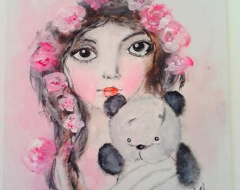 Beautiful lady with flower Crown and her panda