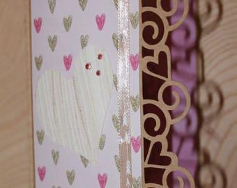 heart pastel inside kraft card