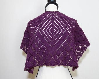 Purple plum hand knitted lace shawl, purple plum wool/acrylic lace shawl, gift for her