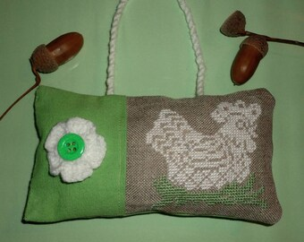 Door hanging cushion ecru and green, handmade embroidery on canvas linen cross stitch embroidery