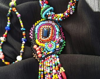 "Embroidered necklace ""Technicolor"""