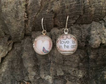 """925 Silver earrings and cabochon """"love is in the air"""""""