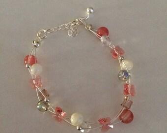 Swarovski crystal pearl bracelet triple row