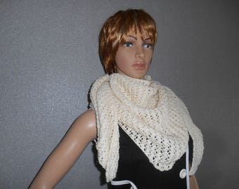 Ecru color hand knitted scarf