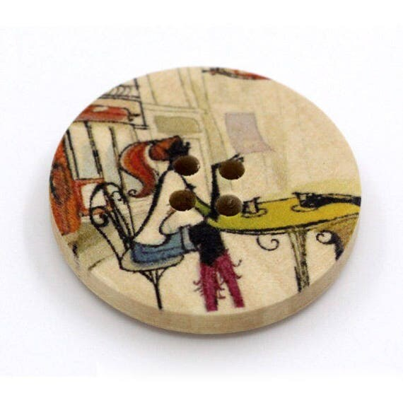 BBR30204 - 2 BUTTONS ROUND 30 MM WOODEN PATTERN WITH COLORS