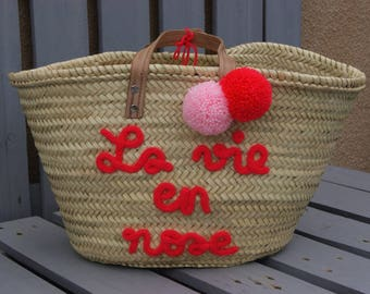 Personalized Tote knitting and PomPoms