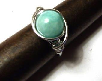 women amazonite 10 mm and aluminum metal rings. ..