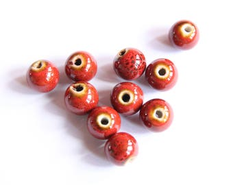 Red Chinese porcelain beads, 10 mm set of 10