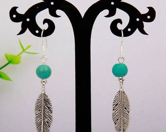 Pearl silver turquoise feather